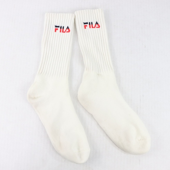 Vintage 90s Fila Mens Large 9 14 Crew Socks White